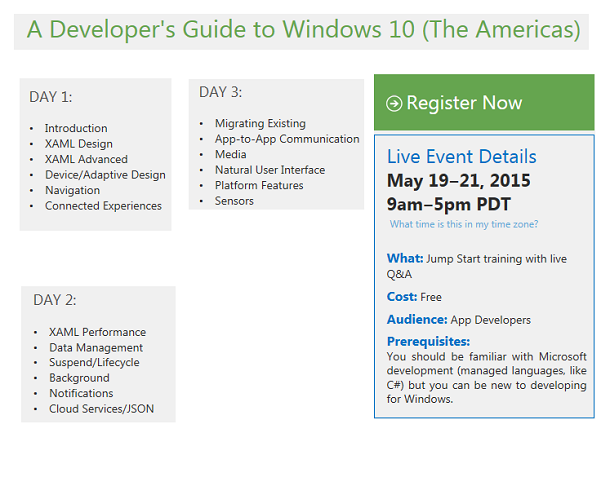Register for: A Developer's Guide to Windows 10